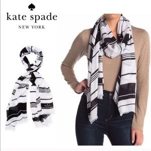 Kate Spade Striped Oblong Scarf NWT